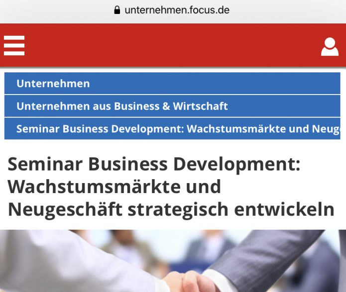 Focus Online über unser Seminar Business Development