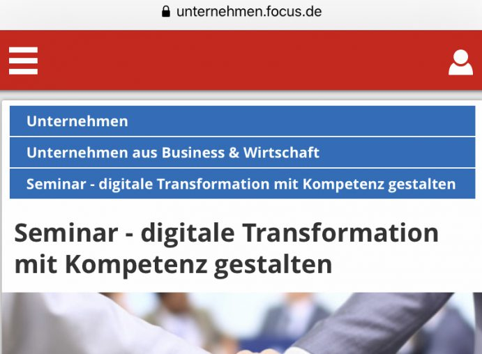 Focus Online über den Zertifikatslehrgang Digital Transformation Leader